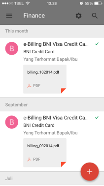 Credit card billing statements are organized in Finance