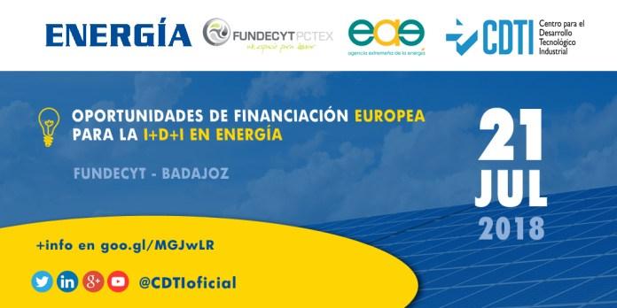 Jornada de Oportunidades de Financiación Europea en I+D+I para el Sector Energético en Badajoz
