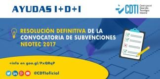 Resolución definitiva de la convocatoria de subvenciones Neotec 2017