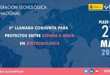 sexta convocatoria españa india biotecnología