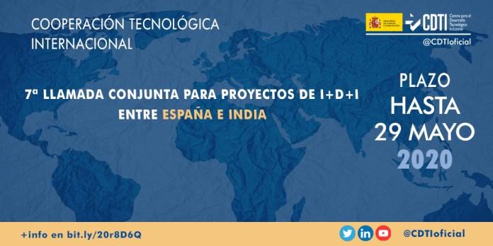 7ª Llamada conjunta proyectos de colaboración España-India