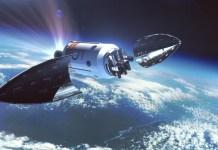 Imagen del cohete orbital MIURA 5 en el espacio. Recreación