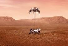 Rover Perseverance aterrizando en Marte