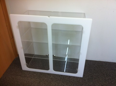 Lockable Wall Mounted Display Cabinet With Shelving 1