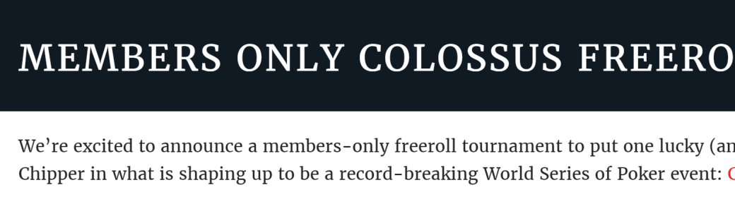 Colossus freeroll