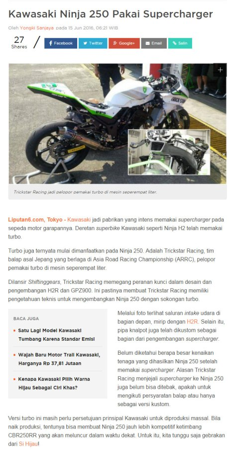 Benarkah Trick Star Racing Japan Kembangkan Kawasaki Ninja 250 FI dengan Turbo Supercharger