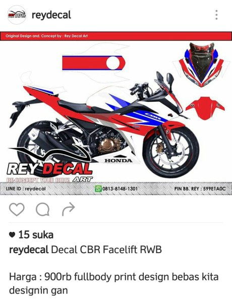 Decal All New Honda CBR150R Red White Blue Pertamax7.com