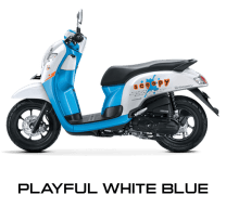 Honda Scoopy 12 inchi playful white blue scoopy new 2017 trans