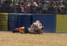 Lagi di Posisi 4, Marc Marquez Crash MotoGP France 2017