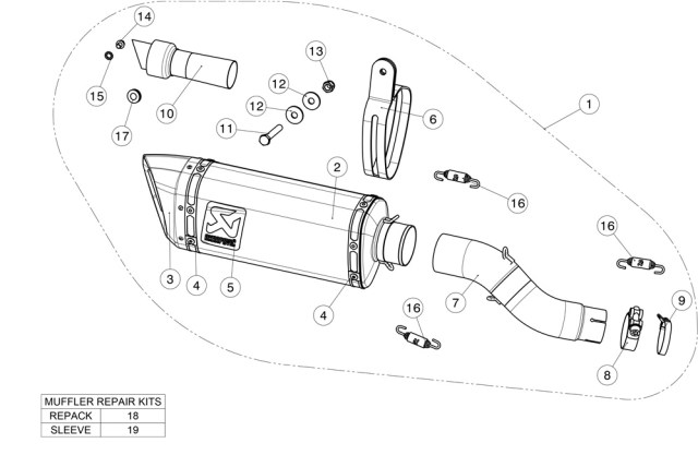 Diagram Akrapovic Slip-On Line Carbon Honda CBR250RR S-H2SO6-APC
