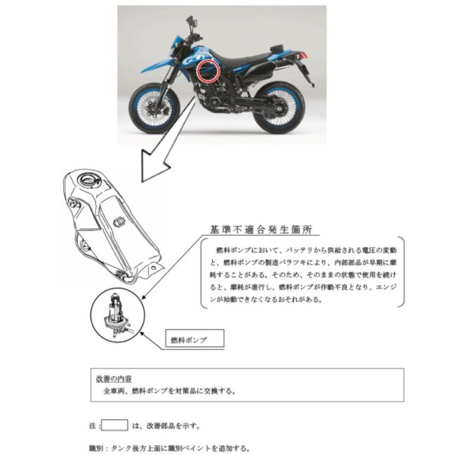 Recall Kawasaki D-Tracker X 250 Japan Fuel Pump