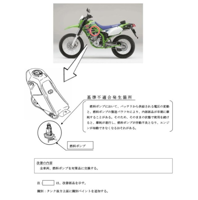 Recall Kawasaki KLX 250 Japan Fuel Pump