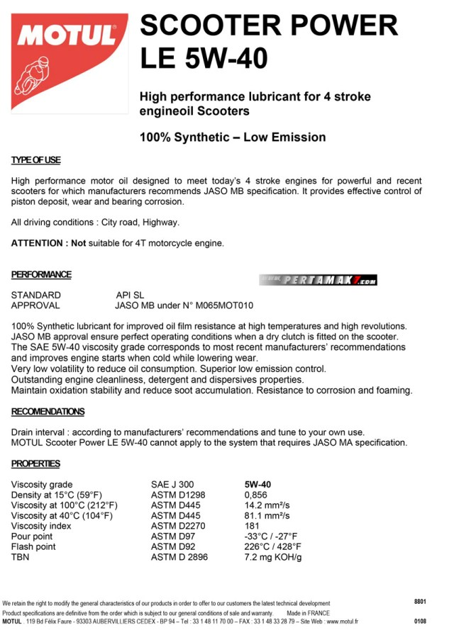 Datasheet Motul Scooter Power LE 4T 5W-40