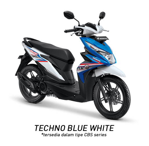 Honda Beat 2018 putih biru techo blue white