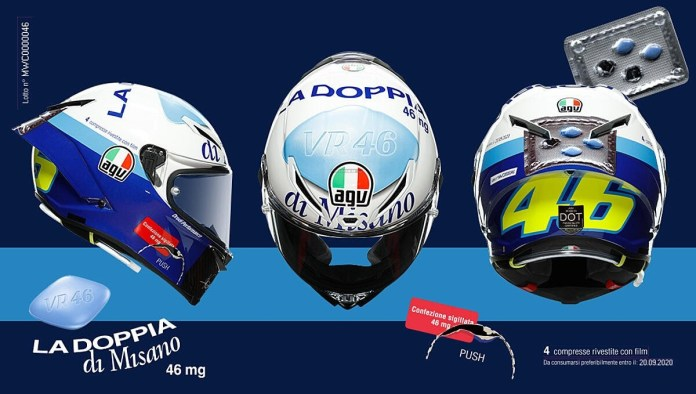 Foto Helm AGV Pista GP RR Valentino Rossi 46 Mg Energizing Pill Limited Edition Misano 2020