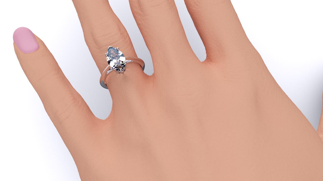 Perth diamond company classic marquise diamond ring hand view