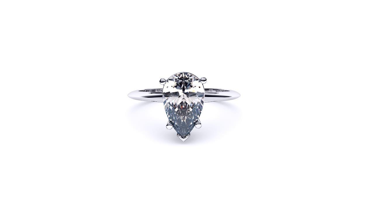 Perth diamond company classic pear diamond ring front view
