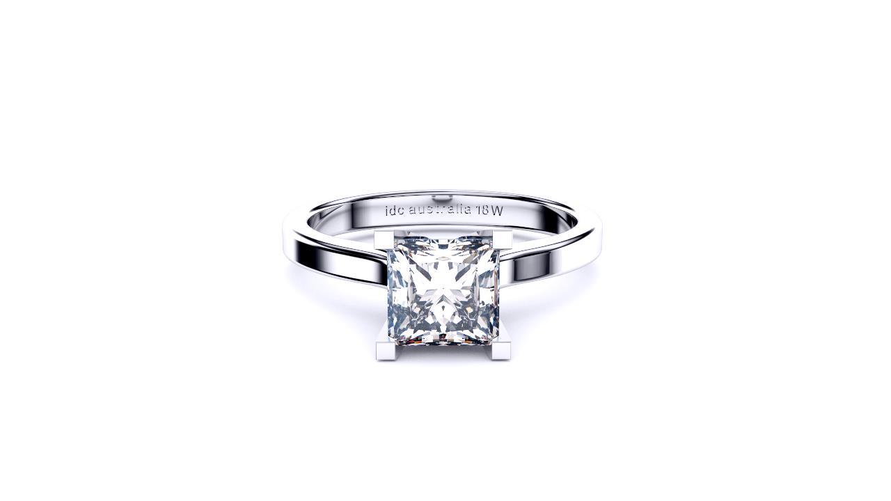 Princess cut solitaire Perth engagement ring