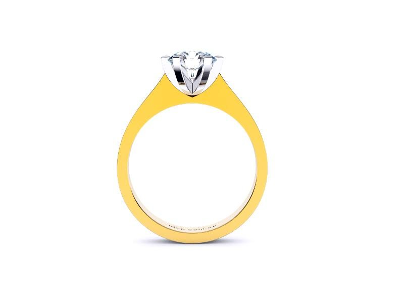 Perth diamonds engagement ring round solitaire with tap up band front view