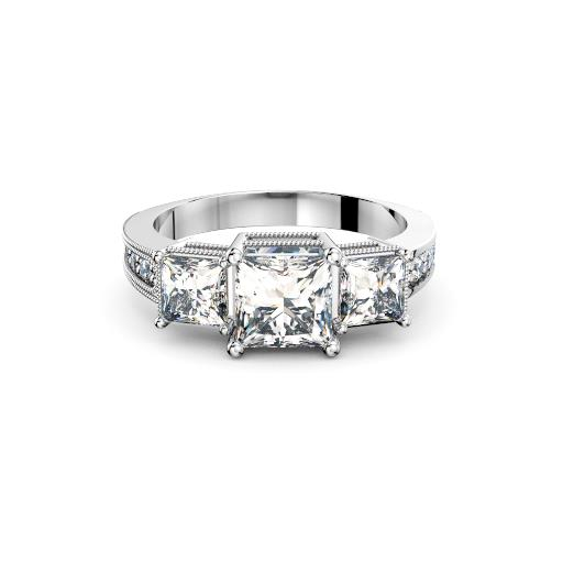 Perth diamonds engagement ring antique style three stone princess cuts angle view