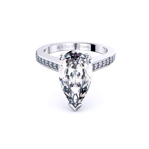 Perth diamond company classic pear diamond with diamond set ring front view