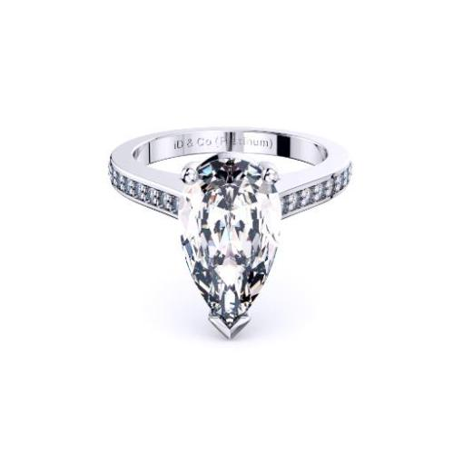 Perth diamond company classic pear diamond with diamond set ring front view