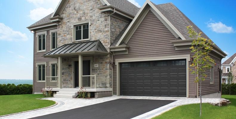 Carriage House style garage doors on traditional home