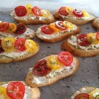 Let's get these party starters started :) Canape/Entree time! Rainbow Tomatoes!