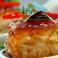 Pork Belly with Chilli Caramel Sauce and Fresh Herbs