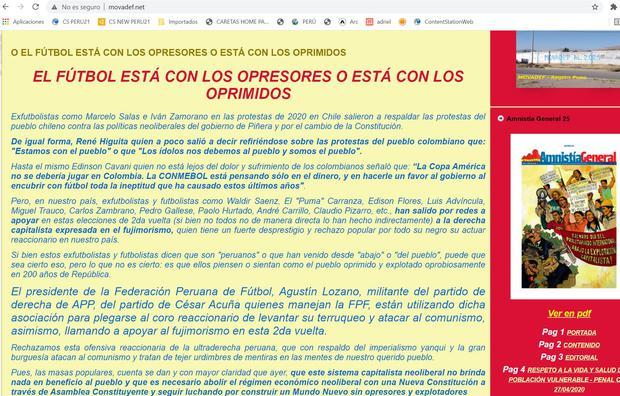 En la web oficial del Movadef se lee el llamado contra los jugadores de la selección peruana de fútbol.