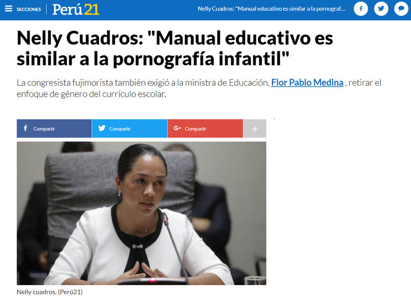 Nelly Cuadros manual es similar a pornografía infantil.