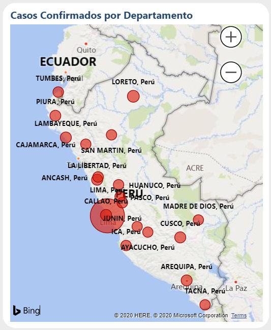 Mapa contagiados coronavirus perú por departamento