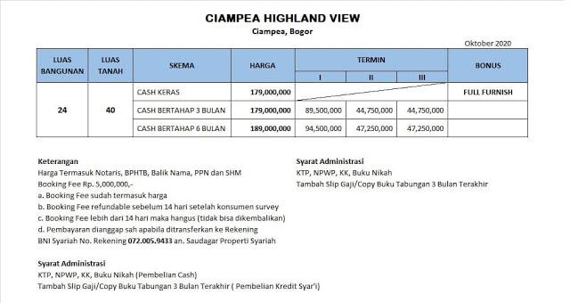 Ciampea Highland View Price List