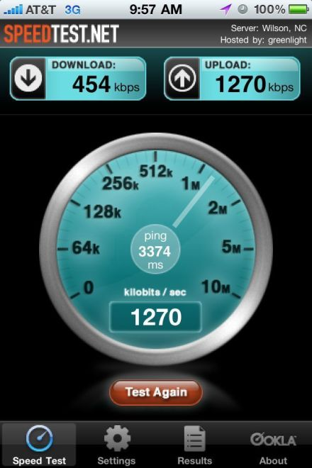 iPhone speedtest screen cap at work 454kbs of download and 1270kbs of upload