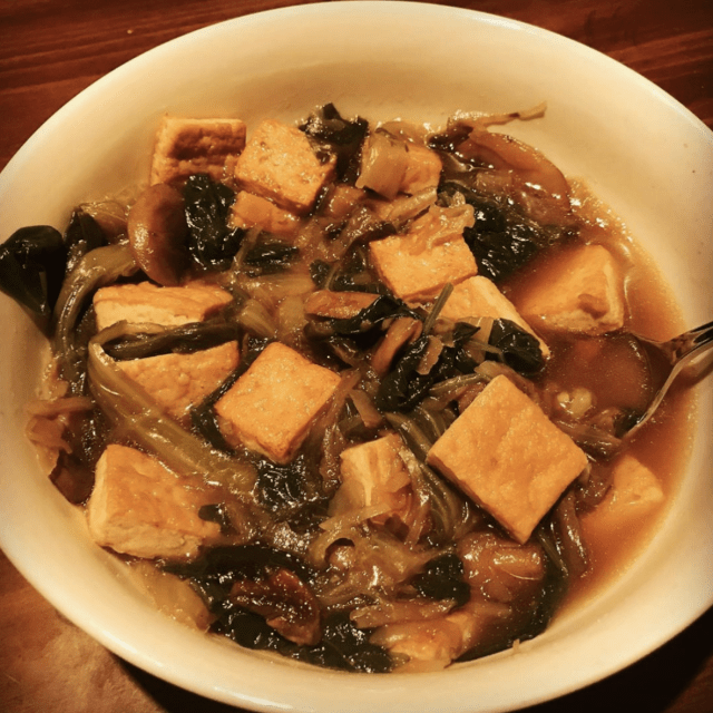 Vegan Keto Fried Tofu Soup in a Bowl