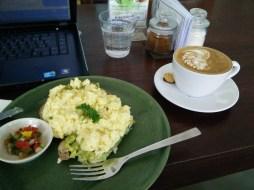Breakfast in Bali - Eggs, avocado, Luwak Coffee