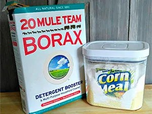 Borax and corn meal