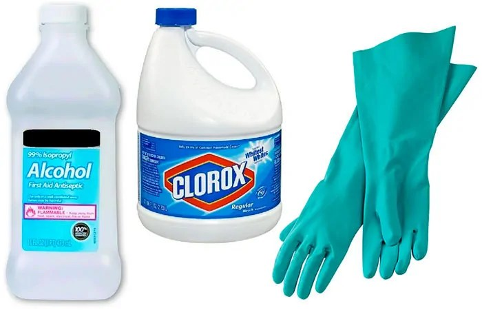 99% Isopropyl Alcohol, Clorox and Rubber Gloves