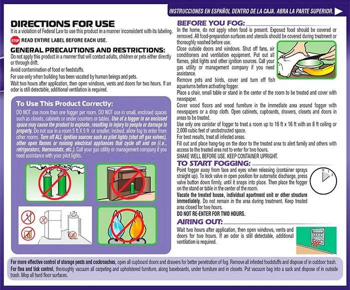 Bed bug fogger by Hot Shot - Instruction