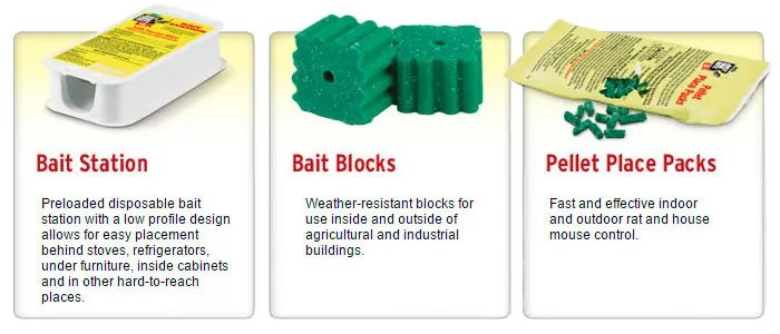 Bait station, bait blocks and pellet place packs