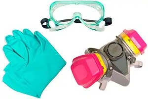 Respirator and gloves
