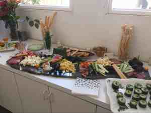 Assorted cheeses, meats, fruit and vegetables