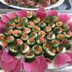 Appetizer, salmon, smoked salmon, cucumber, cream cheese