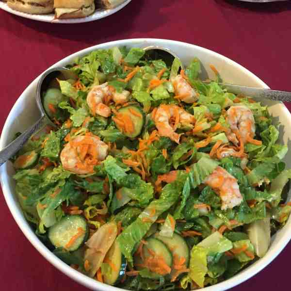 Seasonal Green Salad with Large Shrimp