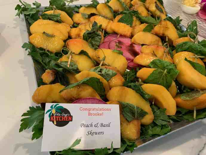 appetizers, peaches, mint, basil
