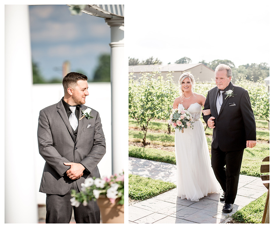 bride walks down the aisle at her outdoor ceremony at tomasello winery