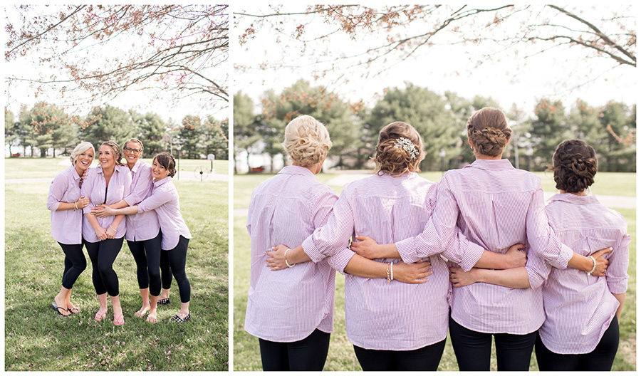 bridesmaid and brides in matching outfits