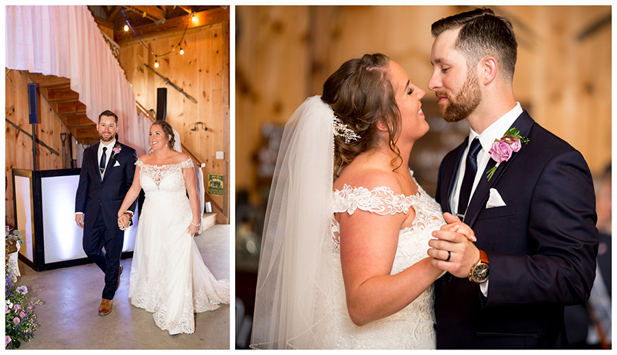 bride and groom are announced at their barn wedding reception on Warner Road