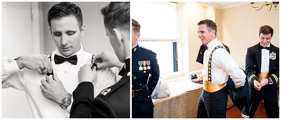 groom getting his tux on with his friends