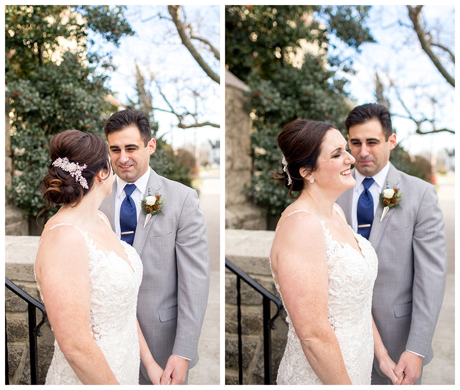 bride and groom portraits outside immaculate conception church